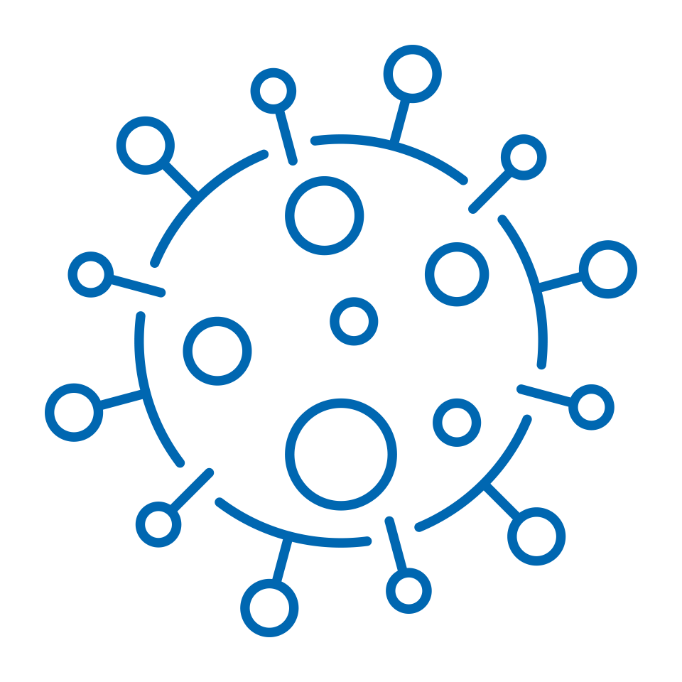 Stylized graphic of the COVID-19 virus
